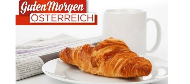 CLIP Mediaservice ORF Frühstücksfernsehen Zeitung und Croissant