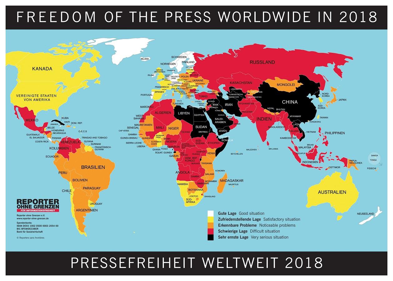 Landkarte- Pressefreiheit 2018